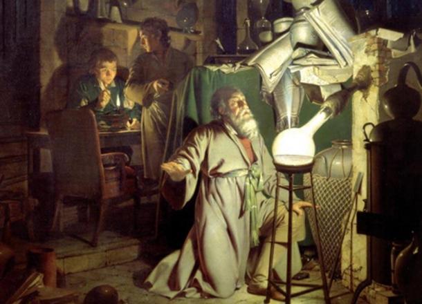 """""""El alquimista, en busca de la piedra filosofal"""" por Joseph Wright de Derby, 1771. (Dominio público)"""