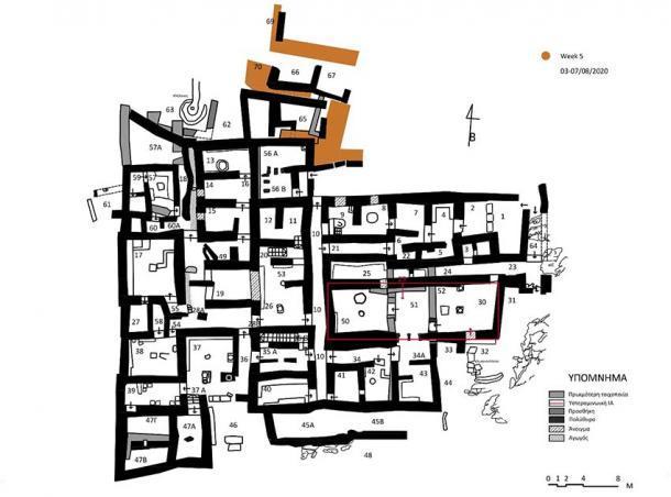 Mapa del complejo actualmente en excavación en Zominthos (AIA)