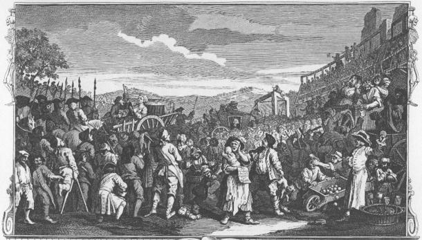 William Hogarth - Industria y ocio, Lámina 11; El inactivo 'Prentice ejecutado en Tyburn' (dominio público)