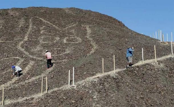 El geoglifo del gato se encontró durante el trabajo para mejorar el acceso a un mirador de visitantes. ( Ministerio de Cultura del Perú )