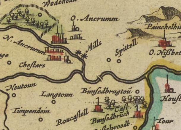 Judith Coulson, miembro de Ancrum and District Heritage Society, encontró un extracto de las actas del consejo local que desencadenó la búsqueda para descubrir el puente medieval. Luego, el equipo se encontró con Blaeus Map of Teviotdale en 1654, que mostraba el puente 130 años antes de que se hubieran construido otros puentes conocidos. (ADHS)