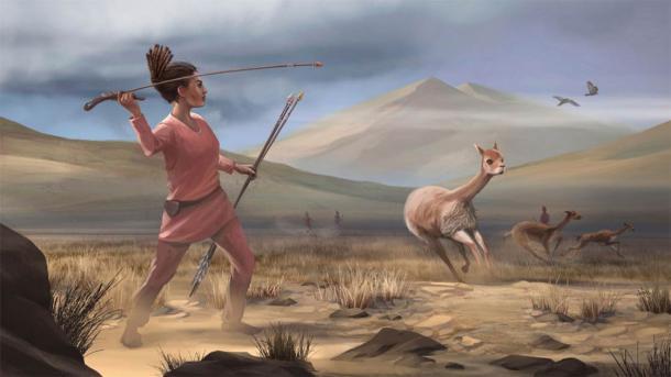 Representación de artistas de una cazadora hace 9.000 años en el antiguo Perú. Fuente: Matthew Verdolivo / UC Davis IET Academic Technology Services