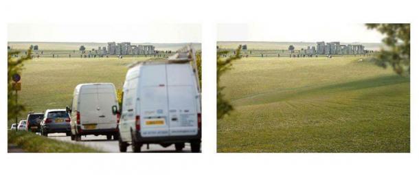 Según la página web del proyecto del túnel A303 de English Heritage, esta imagen muestra los problemas de tráfico ahora en Stonehenge (a la izquierda) y cómo se vería la misma ubicación después de que el túnel esté terminado (a la derecha). (Herencia inglesa)