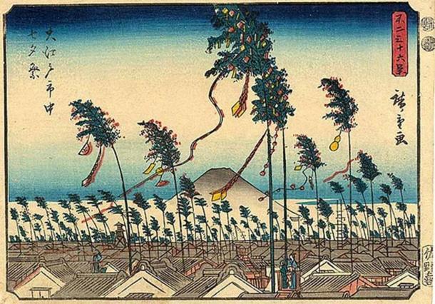 Grabado en madera japonés de las festividades de Tanabata en Edo (Tokio), 1852. (Dominio público)