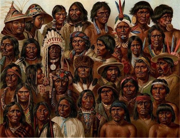 Una ilustración de 1904 que representa varias culturas y bandas de nativos americanos. (Dominio público)