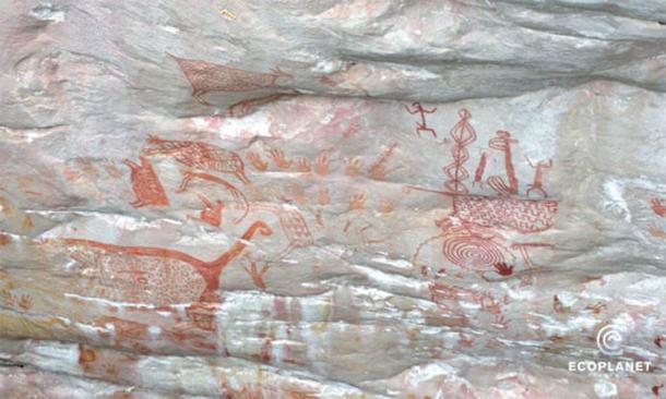 Este arte colombiano de la Edad de Hielo fue descubierto en 2015 en el remoto Parque Nacional Chiribiquete y es muy similar a los descubrimientos en acantilados de 2019. (Francisco Forero Bonell / Fundación Ecoplanet)