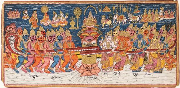 """Representación del """"Batido del océano de leche"""", el elixir de la vida de la mitología hindú. (Dominio publico)"""