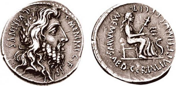 Denario con la cabeza laureada, de pelo largo y barbudo de Quirinus (Rómulo). (Grupo Numismático Clásico, Inc./ CC BY SA 3.0)