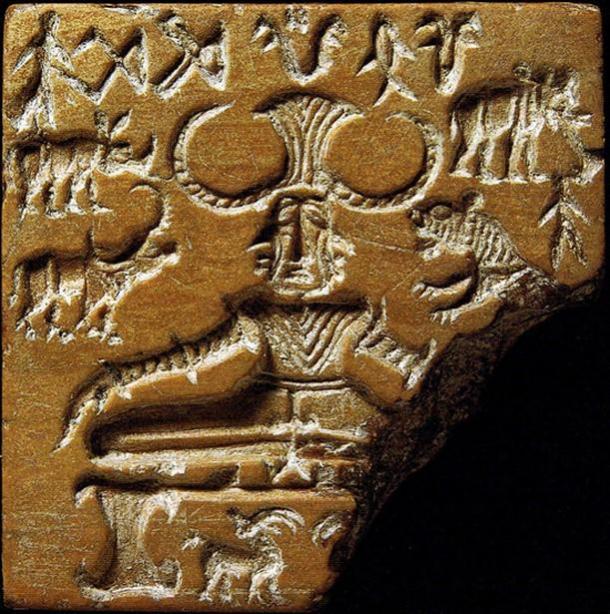 """El sello Pashupati, la civilización del valle del Indo, ha llamado la atención como una posible representación de una figura """"yogui"""" o """"proto-siva"""". 2600–1900 a. C. (Dominio público)"""