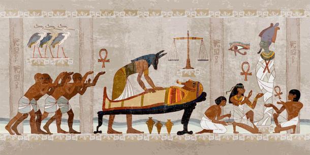 El antiguo proceso de momificación, una interpretación mitológica de Anubis y otros trabajando en una momia de faraón y cómo ciertos bálsamos oscurecían la piel egipcia de la momia. (Matrioshka / Adobe Stock)