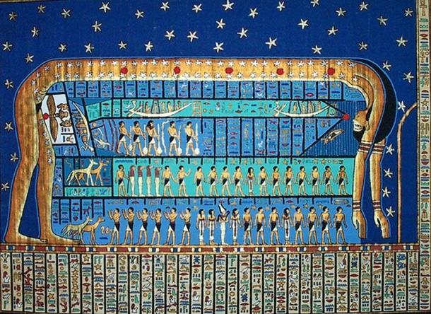 Nut, diosa del cielo y cuerpos celestes en el antiguo Egipto. (Dominio público)