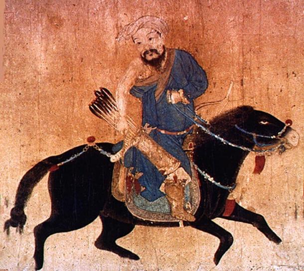 Dibujo de un soldado mongol móvil con arco y flecha vistiendo deel, vestimenta tradicional. (Dominio publico)