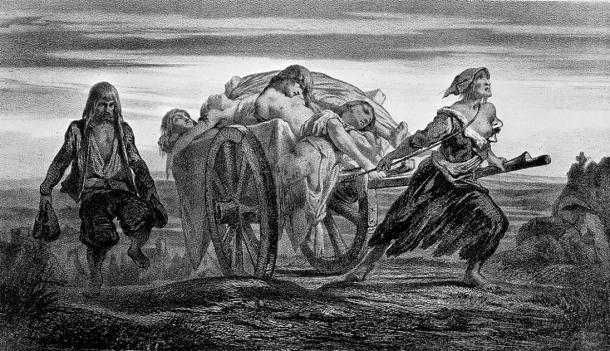 Litografía de Moynet de un camión cargado de víctimas de la peste. (Imágenes de Bienvenida / CC BY 4.0)