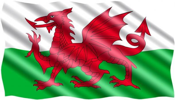 Símbolo del dragón galés en la bandera de Gales. Fuente: dominio público