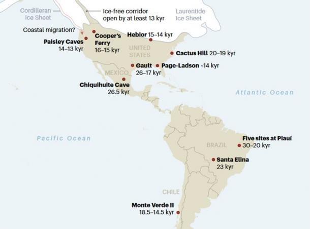 Sitios clave en la población de las Américas. Algunas de estas fechas son controvertidas. (Nature 2020)