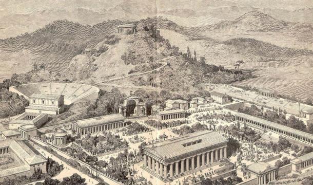 Impresión artística de la antigua Olimpia. (Dominio público)