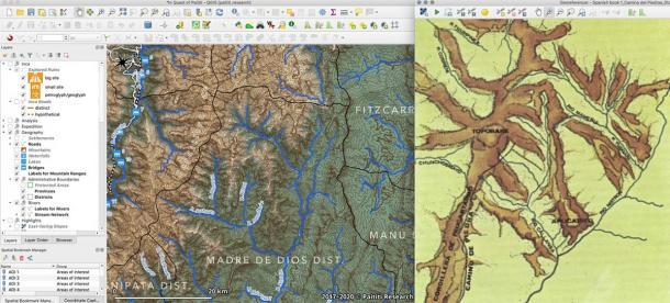 Creación de un mapa de red fluvial en una región objetivo utilizando un modelo de elevación digital (izquierda) y georreferenciación de mapas antiguos (derecha). (Equipo de investigación de Paititi)