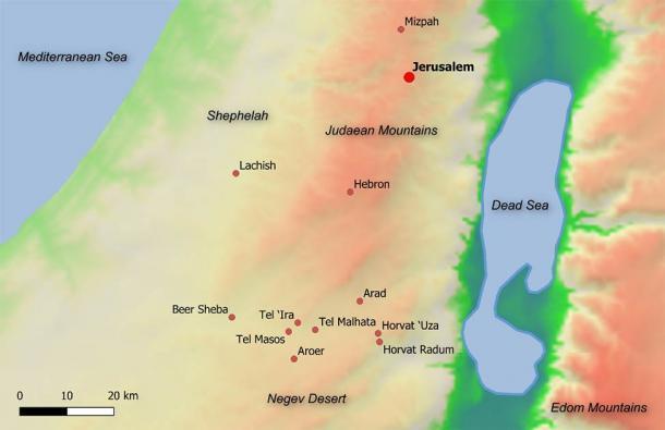 Este mapa muestra la ubicación antigua de Arad en el Israel de la era bíblica, junto con las principales ciudades de Judá y sitios en el valle de Beer Sheba ca. 600 a.C. (© 2020 Shaus et al. PLoS ONE / CC BY 4.0)
