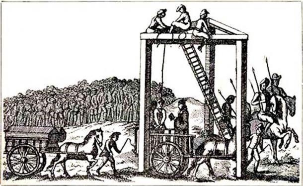 Una ilustración, que se dice que data de aproximadamente 1680, de la horca permanente de Tyburn. (Dominio público)