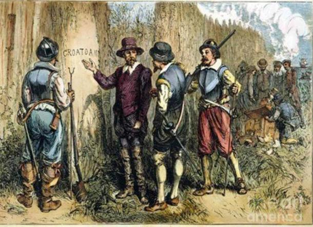 """Pintura del inglés John White de la expedición de 1590 de Sir Walter Raleigh a la isla Roanoke para encontrar la Colonia Perdida, donde encontraron """"Croatoan"""" tallado en un árbol. Esto puede referirse a la isla croata o al pueblo croata. (John White / dominio público )"""