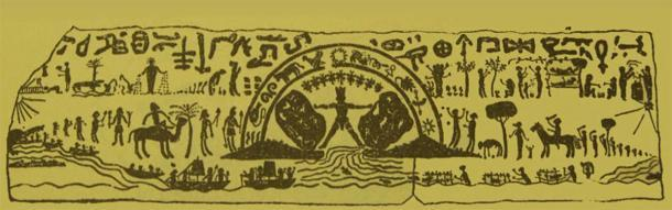 Un dibujo de un gran fragmento de un lado del falso sarcófago de Hércules que muestra a Hércules en el medio, ha sido utilizado por varios estudiosos en sus afirmaciones y explicaciones. (Archaeology.org)