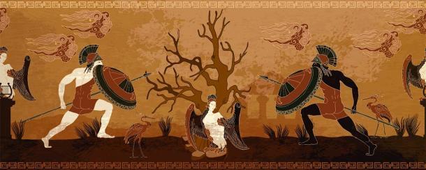 Una estilizada escena de batalla de la antigua Grecia entre guerreros espartanos y atenienses de una pintura de vasija griega. (Matrioshka / Adobe Stock)