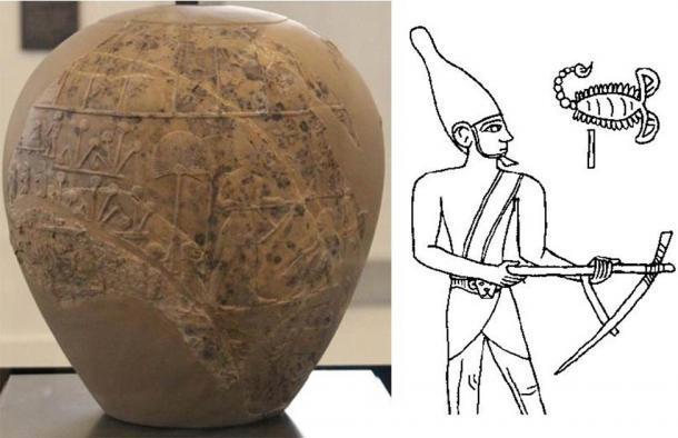Izquierda: The Scorpion Macehead, Ashmolean Museum (CC0). Derecha: dibujo que posiblemente representa al Rey Escorpión en la cabeza de maza. (CC BY SA 3.0 de)