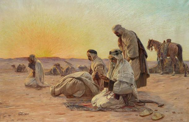 'Oraciones de la mañana' (hacia 1936). Se pensaba que los esenios tenían oraciones específicas relacionadas con la salida del sol. (Otto Pliny / Dominio público)