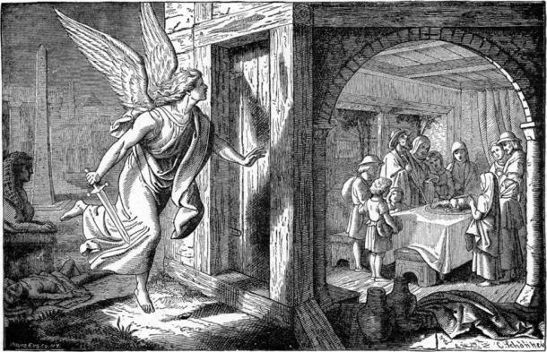 """""""El ángel de la muerte y la primera Pascua"""", ilustradores de las imágenes bíblicas de 1897 y lo que nos enseñan de Charles Foster, 1897. (Dominio público)"""