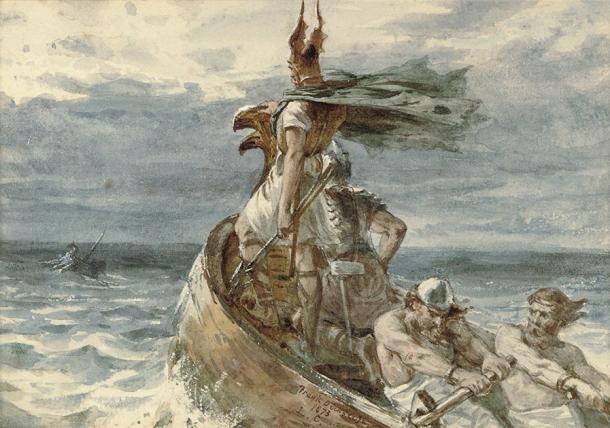 Representación de un vikingo y sus hombres dirigiéndose a tierra. (Frank Dicksee / Dominio público)