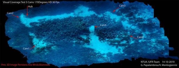 Ubicación de las 5 cámaras robot de IA bajo el agua frente a la costa de Alonnisos en el Mar Egeo (NOUS)