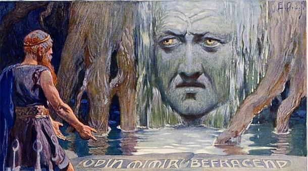 Odin consultando a Mimir en el Pozo del Conocimiento. (Carl Emil Doepler)