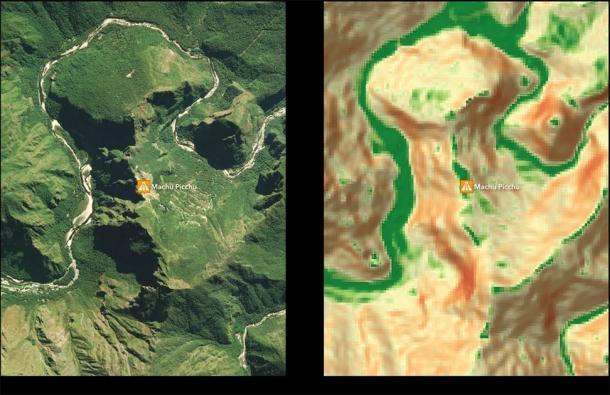 Fragmento del Mapa de Adecuación de Asentamientos en el área alrededor de Machu Picchu. (Equipo de investigación de Paititi)