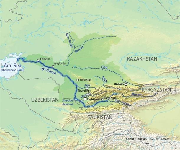 Mapa de la cuenca Syr Darya, de los ríos Syr Darya y Chu en Asia Central. (CC BY-SA 4.0)