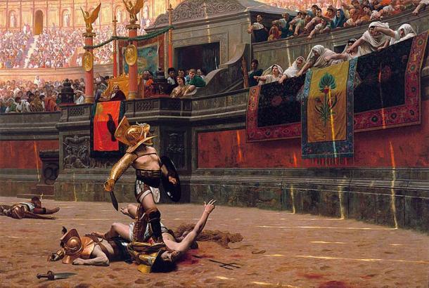 """Flamma el Gladiador fue venerado por el pueblo romano por sus hazañas en la arena. Esta pintura de 1872 de Jean-Léon Gérôme, representa el poder de los antiguos cuervos romanos para decidir el destino de los gladiadores derrotados, con verso police o """"con un pulgar girado"""". (Dominio público)"""