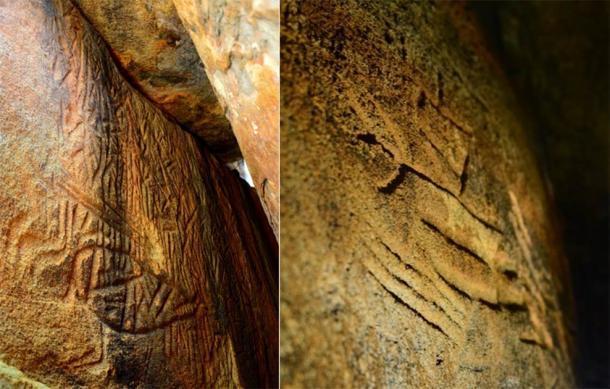 Izquierda; Danigala Chithra Lena - Entrada de la cámara lineal y pared izquierda que representan secciones de los Petroglifos, incluye figuras antropomorfas. (Imagen © EASL | CCF-Polonnaruwa) Derecha; Pared lateral izquierda de la cámara interior que representa figuras antropomorfas como humanos y un arco y flecha. (Imagen © EASL | CCF-Polonnaruwa)