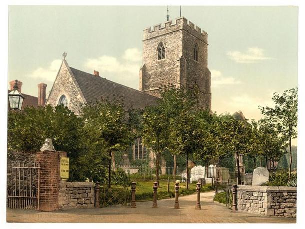 Una imagen de Photochrom de la iglesia en la década de 1890. Vista desde el noreste. (Dominio publico)