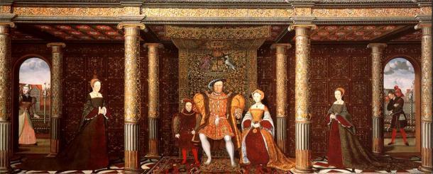 Cuadro que representa a la familia de Enrique VIII, que muestra a su bufón de la corte Will Sommers a la derecha. Sommers era el más famoso de los bufones de la corte del rey y tenía un gran favor con él, permaneciendo a su servicio hasta el final de su vida. (Dominio público)