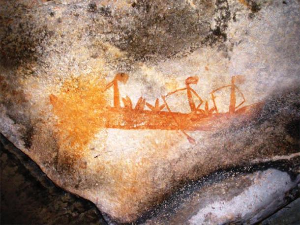 "Arte rupestre ""Gwion Gwion"" que representa un barco, Kimberley, Australia. (Classconections)"