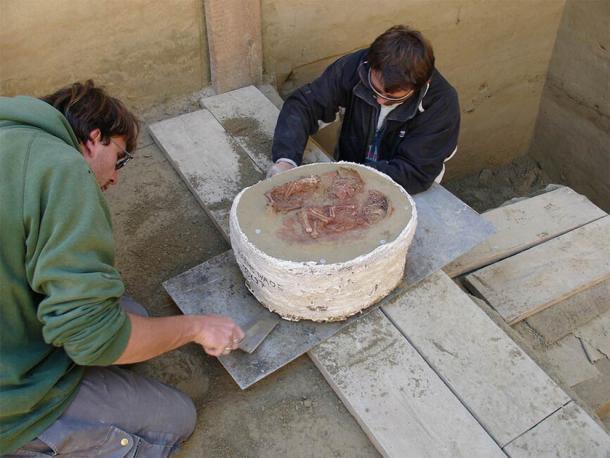Bloque con el entierro gemelo que se excavó en 2005 en el sitio de Krems-Wachtberg en Austria. (OREA / Academia de Ciencias de Austria)