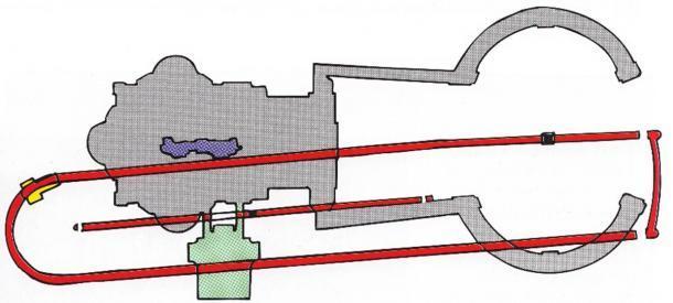 Diseño de la necrópolis del Vaticano (área verde) y se superpone con el Circo de Nero (mostrado en rojo) con el contorno de la basílica mostrado en gris. El Altar de la Confesión y el área de la cripta debajo de él se muestran en púrpura. (Mogadir / CC BY 3.0)
