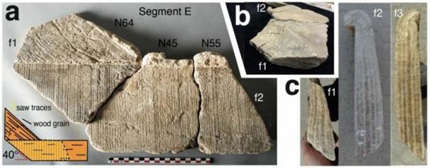 Segmentos de carbonato del canal de codo de Barbegal. (CCW Passchier et al., 2020 / Naturaleza)