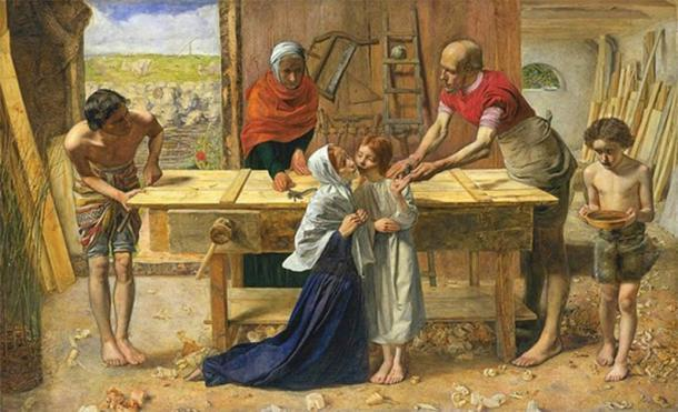 Representación idealizada de John Everett Millais de Jesucristo en la casa de su infancia en el taller de su padre Joseph. (Dominio público)
