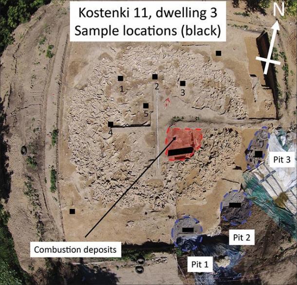 Fotografía aérea de la nueva estructura de hueso de mamut en Kostenki 11, tomada con un dron durante las excavaciones en 2015 (fotografía de A. Yu. Pustovalov y A.M. Rodionov). Las ubicaciones de muestreo se indican mediante cuadrados y rectángulos negros. También se muestra la ubicación de los depósitos quemados y las características del pozo. (Imagen: A.J.E Pryor / Antiquity Publications Ltd)