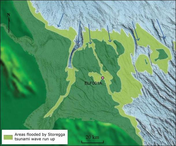 Modelo que muestra el tsunami de Storegga y la aceleración alrededor del sector occidental del sur del Mar del Norte a 8150 cal BP. (Imagen de M. Muru Walker et al., 2020 / Antiquity Publications Ltd)