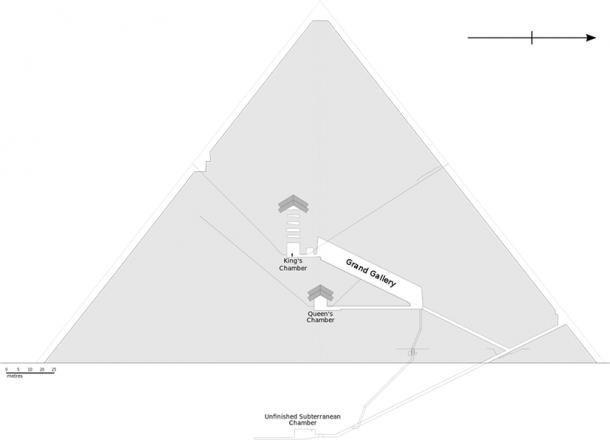 Diseño de la Gran Pirámide de Egipto, que muestra todas las habitaciones interiores y pasillos principales. (Jeff Dahl / CC BY-SA)