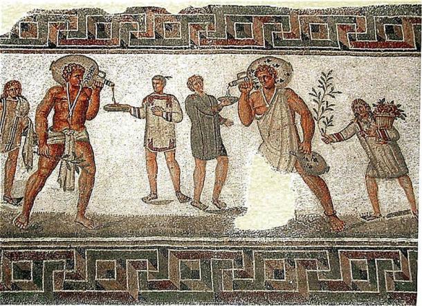 Mosaico tunecino de esclavos llevando jarras de vino. (Pascal Radigue / CC BY 3.0)