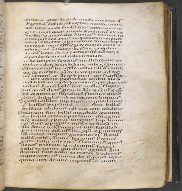 Página digitalizada de Historia Brittonum, siglo XII, en poder de la Bibliothèque nationale de France (Dominio público)