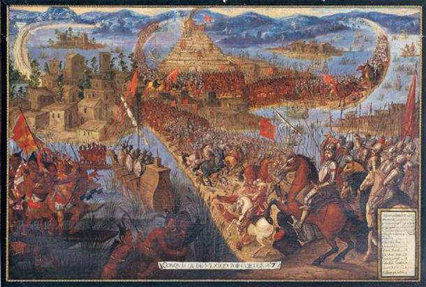 """""""La conquista de Tenochtitlán"""" (Dominio público)"""