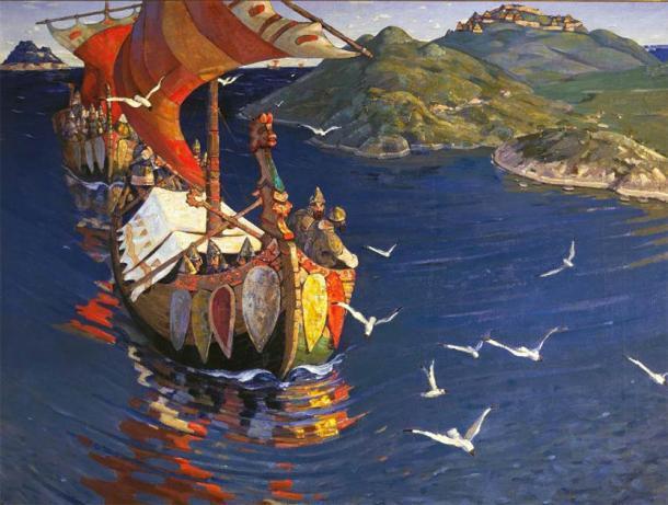 """Nicholas Roerich """"Invitados del extranjero"""". De la serie """"Los inicios de Rusia. Los eslavos"""". 1901. (Dominio público)"""
